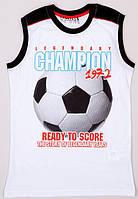 Майка для мальчика LC Waikiki белого цвета с мячом и надписью Legendary champio 1972 100% хлопок