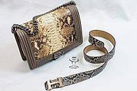 Женская Кожанная Сумка со вставкой змеинной кожи 30*23 см