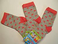 Носки серые для девочек в сердечки розового цвета