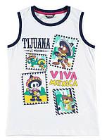 Майка для мальчика LC Waikiki белого цвета с надписью Tijuana Viva Mexica 100% хлопок