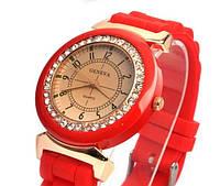 Модные женские часы Geneva Disu со стразами , красный