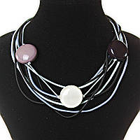 [30 мм] Ожерелье из нитей - черный, серый, белый цвет,  декор - бусины, крупные, круглые
