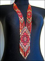 """Гердан """"Слов'янський"""", намисто з бісеру золотистого, чорного та червоного кольорів"""