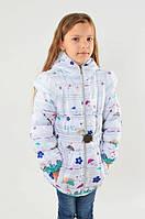 Детская демисезонная куртка-жилетка на девочку белая, р.128