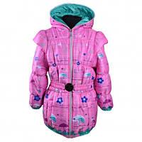 Детская демисезонная куртка-жилетка на девочку розовая, р.116