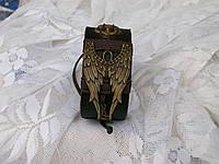Женский кожаный браслет на руку АНГЕЛЬСКИЕ КРЫЛЬЯ, ручная работа