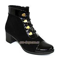 Женские классические зимние ботинки на невысоком каблуке, натуральная замша и лак