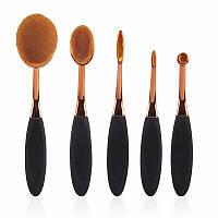 """Набор профессиональных кистей для макияжа """"зубная щетка овал"""" (5 шт) Makeup Oval Toothbrush Set black/gold"""