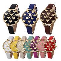 Модные нежные женские часы Geneva Hearts  10 цветов