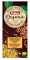 Torras ORGANIC Черный шоколад 52% какао с жареным сезамом и пыльцой