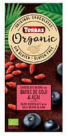 Torras ORGANIC Черный шоколад 52% какао с ягодами годжи и асаи
