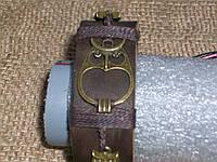 Женский кожаный браслет на руку СОВА , ручная работа