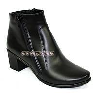 Кожаные женские классические зимние полуботинки на невысоком каблуке.