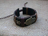 Кожаный браслет РУКА ХАМСЫ (амулет от всех бед) ручная работа