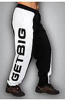 Мужские спортивные штаны черные с белым