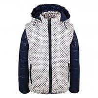 Детская демисезонная куртка-жилетка для девочки в горох кремовая, р.128,134