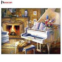 Алмазная вышивка 50*40, белый рояль, камин, квадратные алмазы, полное заполнение