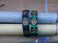 Черный кожаный браслет РУКА ХАМСЫ (амулет от всех бед) ручная работа