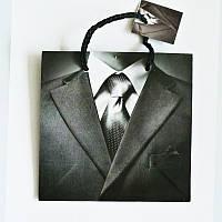 Подарочный пакет ЧАШКА 16х16х7,5 Чёрно-белый, мужской