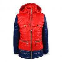 Куртка для девочки, красная, р.128-140