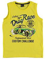 Майка для мальчика LC Waikiki желтого цвета с надписью Drag Race 100% хлопок