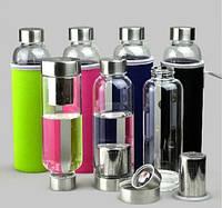 Термобутылка в чехле для заваривания с ситечком «My bottle» 420 мл (Черный чехол)