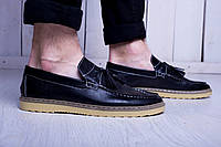 Туфли мужские лоферы с кисточками черные (экокожа)