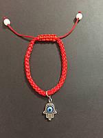 Браслет красная нить оберег от сглаза с талисманом Рука Фатимы