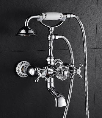Смеситель кран двухвентильный с лейкой для ванной комнаты