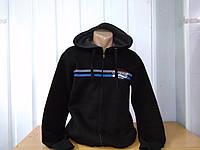 Мужская спортивная кофта флисовая на молнии,черная