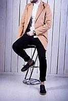 Мужское классическое пальто кашемировое весеннее бежевое (реплика)