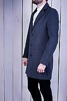 Мужское кашемировое пальто классическое осень/весна синее