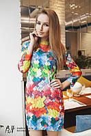 Женское платье спринтом разноцветных ромбиков