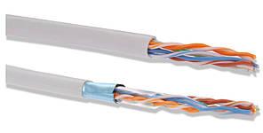 ITK Кабель связи витая пара F/UTP, кат.5E 4x2х24AWG solid, PVC, 305м, серый (для внутр. прокладки)