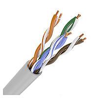 ITK Кабель связи витая пара U/UTP, кат.5E 4х2х24AWG solid, PVC, 305м, серый (для внутр. прокладки)