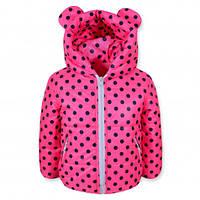 Детская демисезонная куртка на девочку с ушками, розовая, р.98