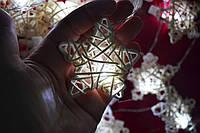 """Новогодняя гирлянда на батарейках из плетеных звездочек """"Нежность"""", фото 1"""