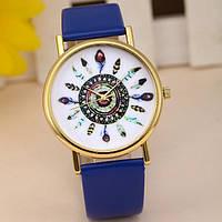Оригинальные модные  женские часы с синим ремешком