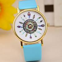 Оригинальные модные  женские часы с голубым ремешком