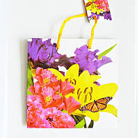 Подарочные пакет  Чашка 16х16х7,5 Орхидеи и ирисы