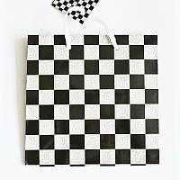 Подарочный пакет ЧАШКА 16х16х7,5 Чёрно-белая клетка