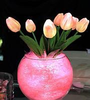 """Светодиодные цветы в вазе """"Розовые тюльпаны"""". Букет из 7 цветков"""