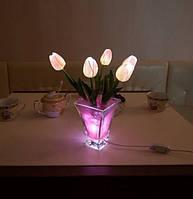 """Светодиодные цветы в вазе """"Розовые тюльпаны"""". Букет из 5 цветков"""