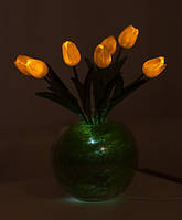 """Светодиодные цветы в вазе """"Желтые тюльпаны"""". Букет из 7 цветков"""