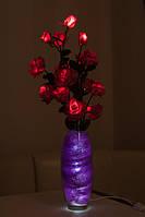 """Светодиодные цветы в вазе """"Розовые розы"""". Светодиодные деревья и ночники"""
