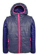 Детская демисезонная куртка -жилетка для девочки белый горох, на флисе р.128-152