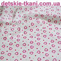 Ткань хлопковая с сердечками 1 см тёмно-розового цвета (№ 583)