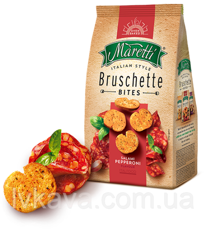 Гренки Bruschette Salami Pepperoni Maretti, 70 гр, фото 2