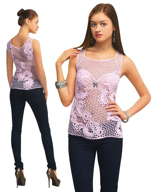 Блуза розовая с ввязанными плотными мотивами
