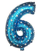 Фольгированная цифра 6 голубая со звездочками 77 х 50 см